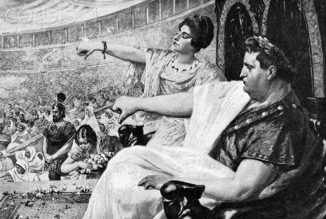 "Illustration Showing the Emperor Nero Giving the ""Thumbs Down"" Signal"