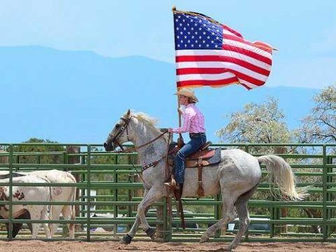 woman-riding-horse-waving-american-flag