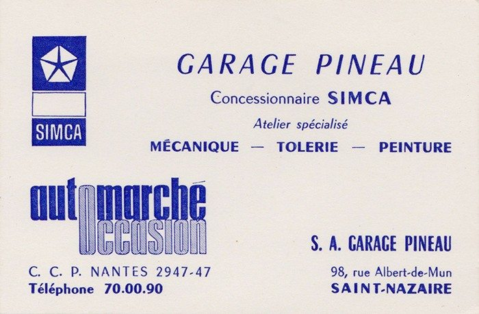 Carte De Visite Du Garage PINEAU