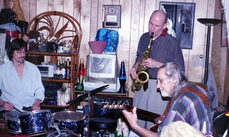Session at Sonny's basement studio, Shirley, New York, December 2, 2004   John McCutcheon, drums; Richard Tabnik, alto; Sonny Dallas, bass   Photo by Mark Weber