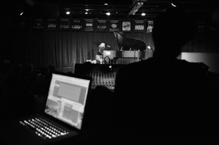 Outpost Performance Space -- October 21, 2010 -------  Steven Schmidt's recording rig --- Simon Welter at the soundboard --- Kazzrie at the Steinway ---- photo by Jim Gale