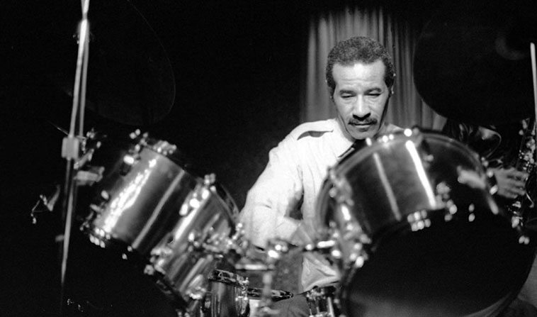 Max Roach at Howard Rumsey's club Concerts By The Sea, Redondo Beach, California ---  January 8, 1977 --- photo by Mark Weber -- that's Billy Harper standing behind Max as a member  of Max's quintet (Reggie Workman, Sulaiman Hakim, Cecil Bridgewater) (Max playing a set of  Hollywood Drums)