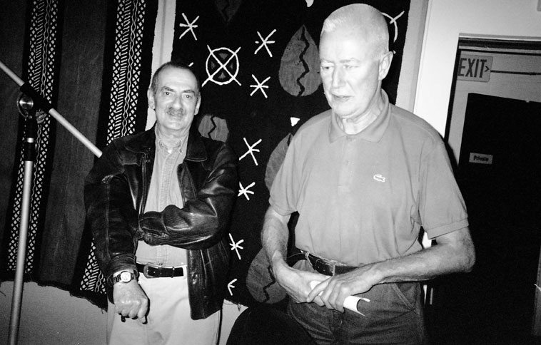 Kenny Davern & Han Bennink ----  backstage at Outpost Performance Space, Albuquerque -- October 25, 2004 --- photo by Mark Weber -----   Kenny was asked to join the Instant Composer's Pool and did indeed perform with them in Albuquerque the following year when they came back