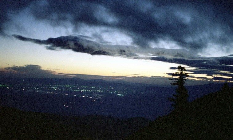 Sunset views of Pomona Valley from Mt Baldy foothills (where I come from) California -- December 1977 -- photo by Mark Weber