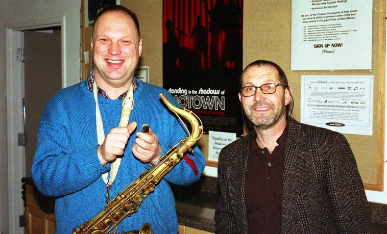 "Toby Delius and Tom Guralnick -- March 17, 2003 -- (that movie Standing in the Shadows of Motown  is a knock-out -- Joan Osborne slays me with ""Heat Wave"" and ""What Becomes of the Broken Hearted?"" as well, Me'Shell Ndegeocello, Ben Harper, Chaka Khan, killer, and Bootsy Collins, a riot) -- photo by Mark Weber"