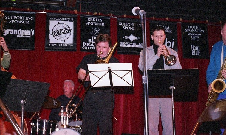 Han Bennink, drumset; Wolter Wierbos, trombone; Thomas Heberer, trumpet;  ICP soundcheck -- March 17, 2003 -- photo by Mark Weber