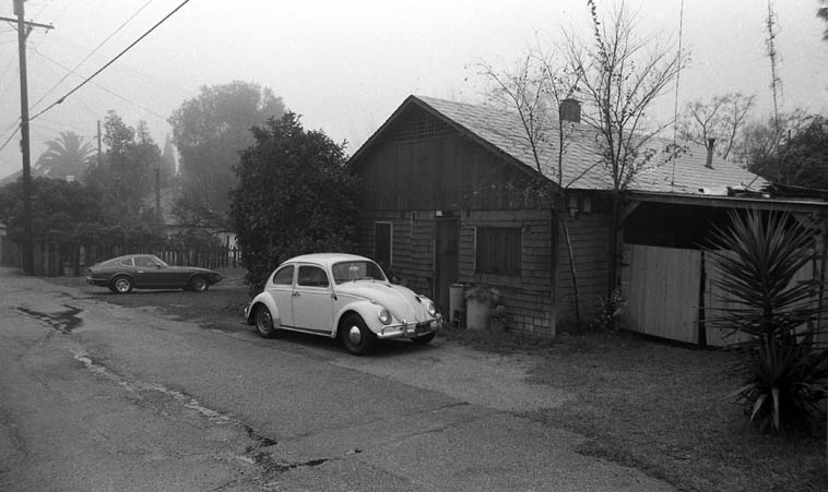 "I lived in this alley house 1972-1985 --  this photo by me circa 1981 on a foggy day, Southern California gets those dense pea soup fog coverings ---- Frank Zappa has an extended work ""Little House I Used to Live In"" and it always reminds me of my little house at 400 1/2 Laurel Avenue, Upland, about 40 miles east of downtown Los Angeles"