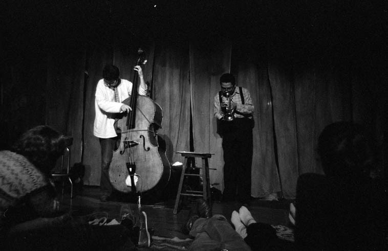"Charlie Haden & Bobby Bradford presented an entire concert of duets: February 17, 1980 at Century City Playhouse, Los Angeles ------ photo by Mark Weber ------ they played BB's tunes: ""Comin' On,"" ""Woman,"" ""Snuffy,"" and Charlie's ""Song for Che,"" Bird's ""Confirmation"" and reprised ""Law Years"" that they both made with Ornette, released on SCIENCE FICTION album ----- R.I.P. Charlie Haden (August 6, 1937 - July 11, 2o14) ------ Bobby celebrates his 80th this weekend (b. July 19, 1934), we're hoping he'll join us on the telephone for next Thursday's radio show . . . . ."
