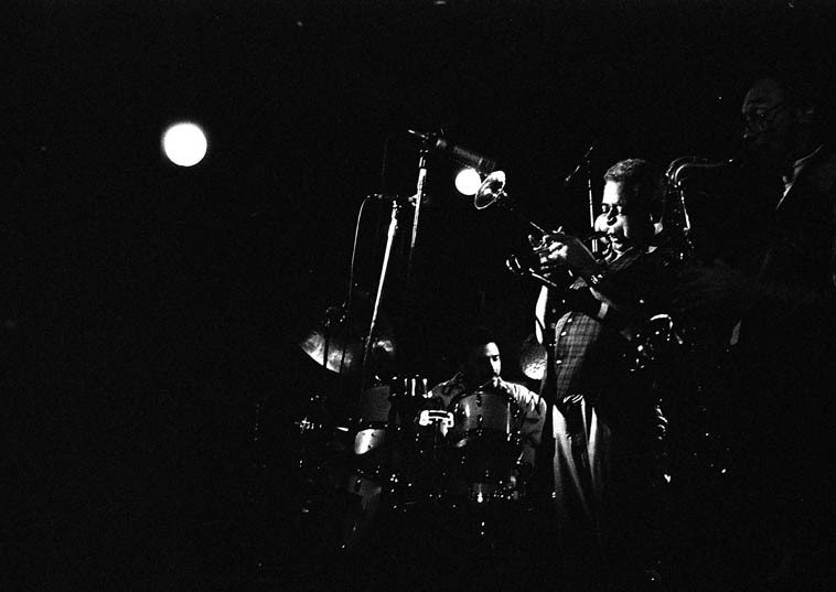 Dizzy Gillespie Quintet ---- November 4, 1987 -- Cleveland ---- Dizzy brought to Peabody's Down Under on the Cuyahoga River waterfront this quintet comprised of Ignacio Berroa, drums; Ed Cherry, guitar; John Lee, electric bass; AND Sam Rivers on tenor saxophone!  I wonder if Sam & Dizzy ever made recordings?  The first time I ever saw Dizzy in person (1973) I was twenty and dutifully sat in the front row at Howard Rumsey's Concerts by the Sea (club in Redondo Beach, California) and looking right up at Dizzy he takes his first solo and his entire face expanded like a puffer fish it scared the bejeezus out of me, I gasped