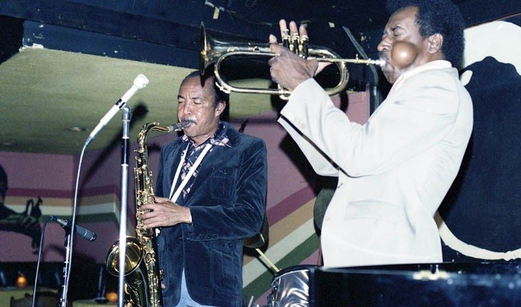 Harold Land & Blue Mitchell -- @ Donte's, North Hollywood -- July 10, 1977 -- photo by Mark Weber ---- Blue Mitchell (1930-1979) was the ultimate hipster with a horn: He had swagger, button-down exactitude, humor, toughness (punch), delicacy (poignancy), and message. And he once bought me a beer! Cancer got him. I followed this band he had with Harold all over L.A.  (Blue settled in Los Angeles in 1974.)
