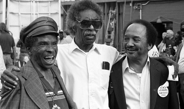 Three Trumpeters: Lammar Wright Jr, Gerald Wilson, Snooky Young -- June 18, 1983 -- Playboy Jazz  Festival, Hollywood Bowl ---- photo by Mark Weber ----- Lammar relocated to L.A. these last few years of his life to see after his 94-year-old grandmother Nana Mabel Williams -- me and my buddy Harold Howard (another trumpeter) had more fun hanging with Lammar, he was a real character right out of Bopdom, told  us a million crazy stories, rooming with Charlie Parker, on the road with Dizzy Gillespie's Big Band, friendship with Dexter, and a lot of drinking -- he was running under the pseudonym Lammar Gibran  due to some legal entanglement I forgot what, I still have his address in my book: 917 E. 23rd Street, Los Angeles