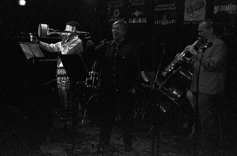 Steve Lacy Quintet ------ March 20, 2000 at old Outpost Performance Space, 112 Morningside SE, Albuquerque USA ----- Roswell Rudd, Irene Aebi, John Betsch, JJ Avenel, Steve Lacy -- photo by Mark Weber