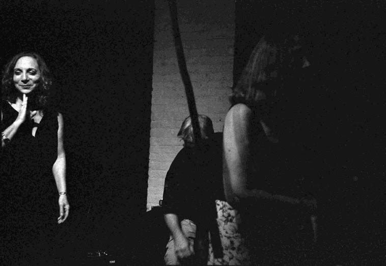 TranceFormation -------- after the set ------- August 19, 2o14 -------  photo by MarkWeber ---- It's dark  inside the Stone, takes a few minutes for your eyes to adjust ---- I'm shooting Tri-X with my  antique cameras, one is an SLR (Fujica ST-701) and the other is a rangefinder (Olympus 35-RC) two  phenomenal cameras from 1976/1974 ---- this trio was the first set of 12 sets total over six nights  of Connie in a variety contrasts