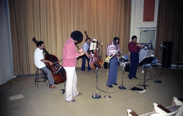 Bobby Bradford-John Carter Quintet: James Newton(flute), Roberto Miranda & Noah Young(basses), JC(clarinet), BB(cornet) -- Avery Auditorium, Pitzer College, Claremont, California -- October 27, 1980 -- photo by Mark Weber