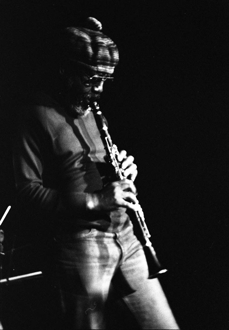John Carter -- January 7, 1977 ---- Century City Playhouse, Los Angeles -- photo by Mark Weber ---- this is the original uncropped photo that we used for the cover of album ECHOES FROM RUDOLPH'S -- John was part of this concert entitled David Murray Trio + Guests -- Trio was Roberto Miranda(bass) and Oliver Johnson(drums) and the guests were James Newton(flute) and John Carter(clarinet)