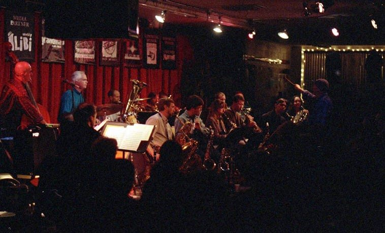 Dino was commissioned to do a conduction piece for the Outpost Repertory Jazz Orchestra  under the direction of David Parlato -- December 15, 1997 -- Albuquerque -- photo by Mark Weber