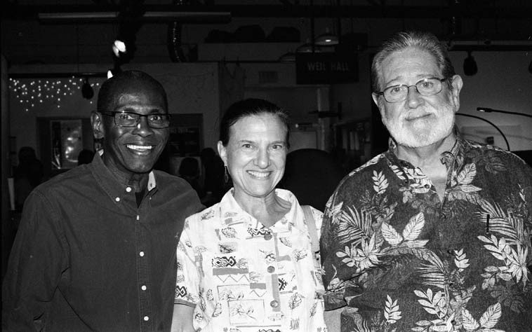 My wife Dr Janet Simon with two of her patients: George Cables and Bobby Shew --  October 4, 2o14 at The Outpost Performance Space, Albuquerque -- photo by Mark Weber