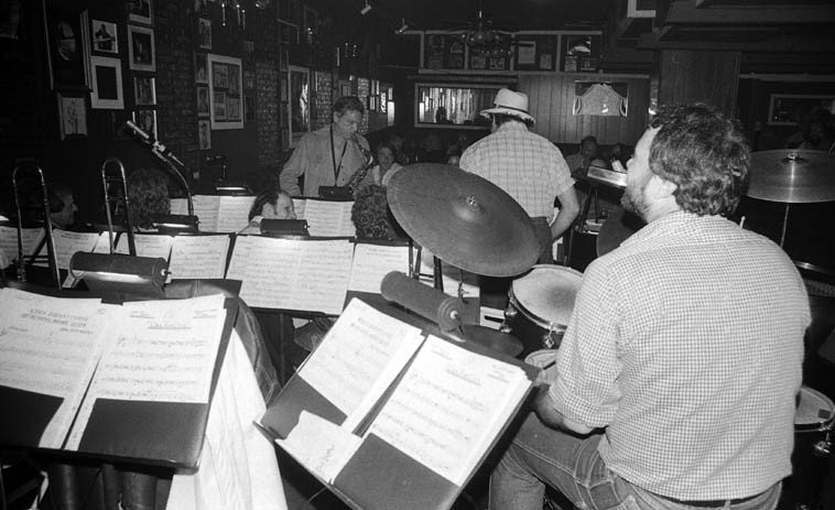 Maury Stein sits in with Don Menza's Big Big Band for a tenor battle with Ray Pizzi -- May 26, 1980  at Carmelo's, North Hollywood -- photo by Mark Weber -- Nick Ceroli, drums; Frank DeLaRosa, bass;  trumpets: Don Rader, Ron King, Chuck Findley, Frank Szabo, Bill Stapleton; trombones: Bill Moffett,  Mayo Tiana, Charlie Loper, Bill Reichenbach, Dana Hughes; saxes: Jay Migliori, Ray Reed, Gary Herbig,  Jack Nimitz and Don Menza out front; and Frank Strazzeri, piano