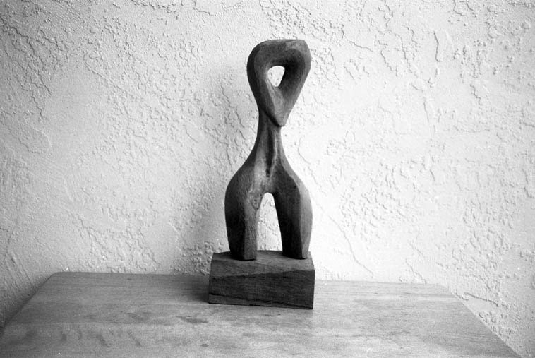 Human form, circa 1990s -- wood sculpture by Roy Moss (1917-2009) -- collection of Mark Weber