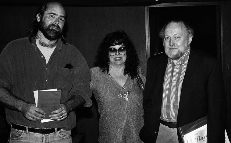 Fred Voss, Joan Jobe Smith, & Marvin Malone, publisher of WORMWOOD REVIEW -- April 20, 1995 -- CSULB Long Beach, California -- photo by Mark Weber -- WR (1959-1999) was quite an influence on the American underground literary scene, be sure and see the WORMWOOD website (Marvin even managed to squeeze me into a few issues)