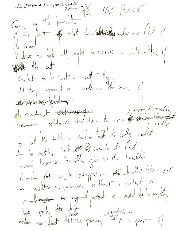 "Pages 1 & 2 original draft of poem ""My Place"" by Fred Voss -- collection of Mark Weber --  I've had this framed and hanging on the wall in my typing room for years"