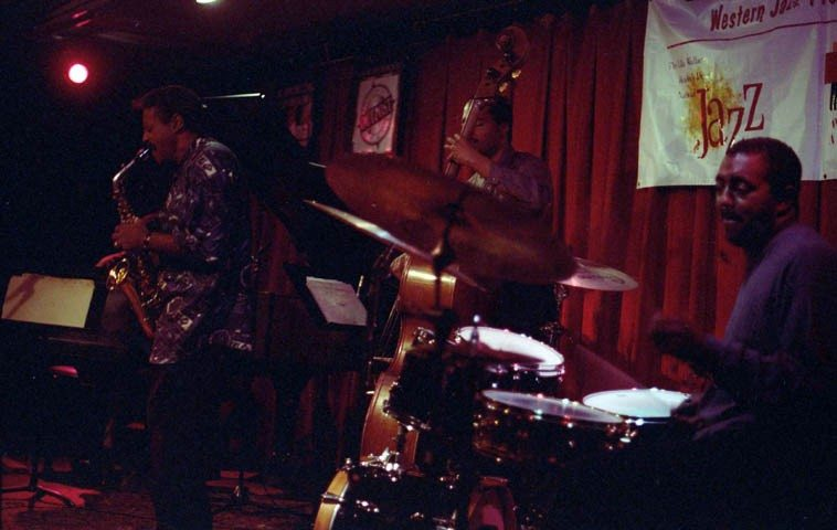 "Charles McPherson Quartet at Outpost Performance Space, Albuquerque -- October 5, 1998 -- Randy Porter, piano; Chuck McPherson, drums; Jeff Littleton, bass ---- photo by Mark Weber ---- as Phil Woods says about Charlie Parker: ""It was nature's cruel joke to put him here and set this unattainable example for the rest of us."""