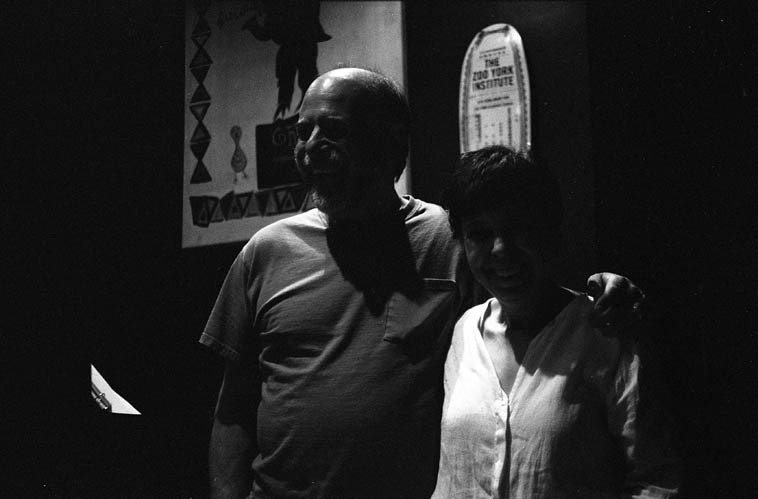 Two pianists at Puppet's Jazz Bar, Park Slope, Brooklyn -- Virg Dzurinko had a gig there as part of  the Dori Levine Trio + Gary Levy (Dori, vocals; Hilliard Green, bass) and the pianist Charlie Sibirsky,  who lives nearby, dropped in to hear Virg -- July 13, 2o10 -- photo by Mark Weber