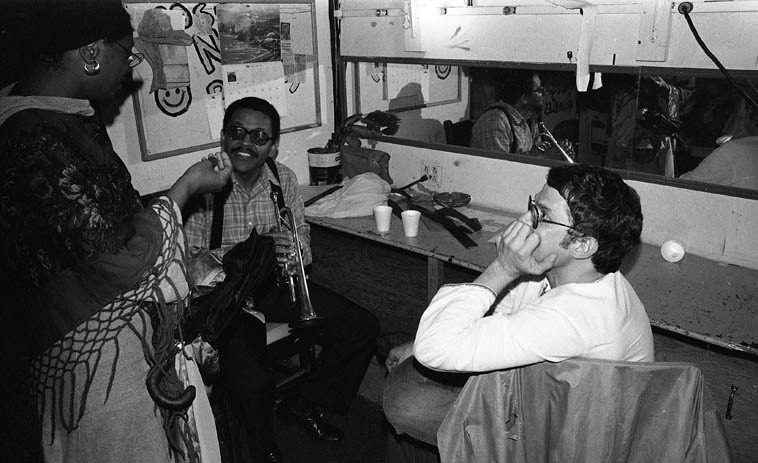"Bobby Bradford and Charlie Haden backstage before their duo concert  at Century City Playhouse, Los Angeles -- February 17, 1980 -- I actually have an  ""unofficial"" audience recording of this concert around here somewhere, maybe I'll find  it in time for this radio show . . . . .  photo by Mark Weber"
