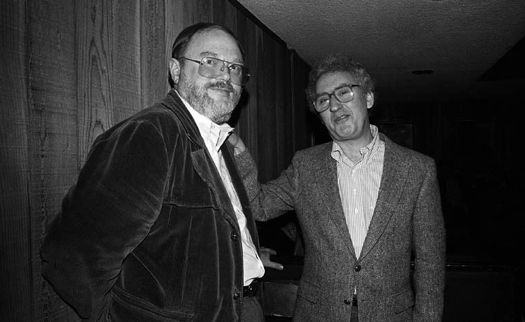 Two alto saxophonists leaning against a wall ---- Gary Foster & Lee Konitz ---- Donte's, North  Hollywood -- January 15, 1982 -- photo by Mark Weber