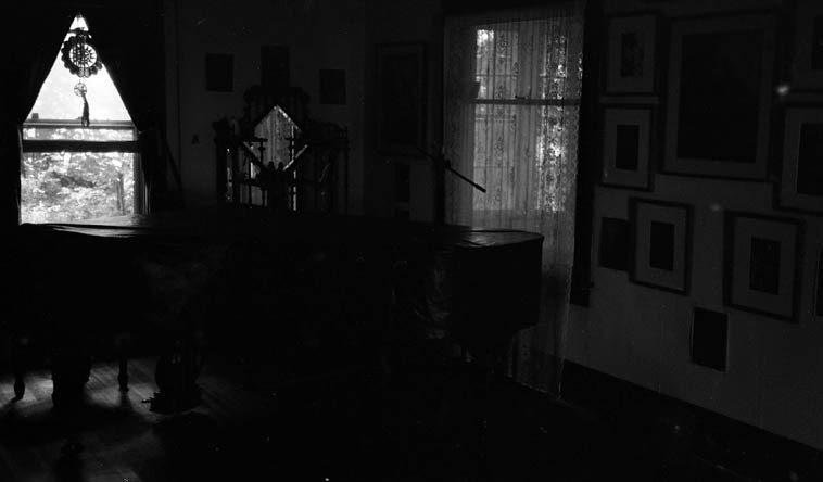 Kazzrie Jaxen's piano -- early morning August 8, 2o11 ---- her home up on a hillside  in a forest with a river nearby -- Callicoon, New York -- photo by Mark Weber