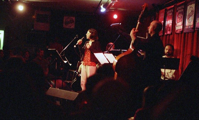 Gretchen Parlato Quartet at the old Outpost -- April 6, 1998 -- David Parlato, bass; Michael Anthony, guitar;  Bob Fox, piano; John Trentacosta, drums ---- Let the record show that some of Gretchen's earliest recordings from 1996-1997 were with my MW Poetry Band ---- photo by Mark Weber