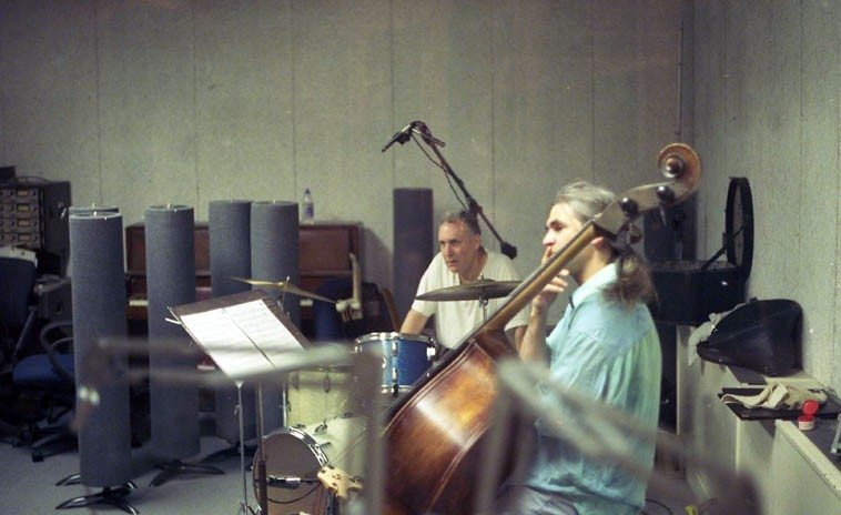 Billy Mintz, drums, and Ken Filiano, bass --  KUNM studios -- May 24, 1997 -- photo by Mark Weber