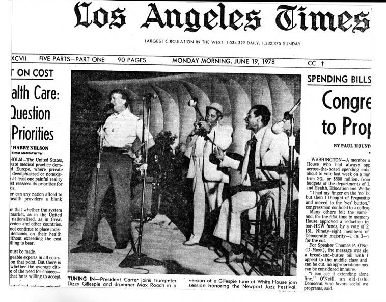 "The front page of the L.A. TIMES -- from the collection of Mark Weber -- Jimmy Carter  singing ""Salt Peanuts"""