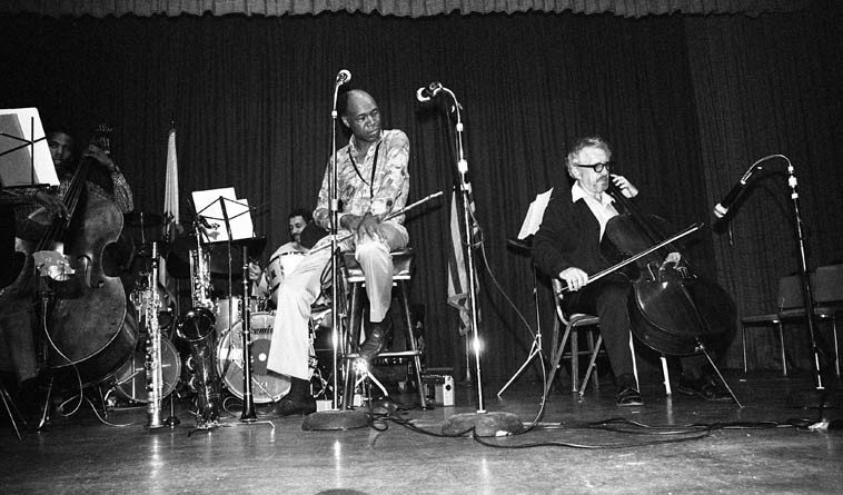 Buddy Collette - Fred Katz Quintet -- May 9, 1981 Los Angeles -- Llew Matthews, piano; Paul Humphrey, drums; Nathan East, bass -- photo by Mark Weber -- both exerted an oracular presence over the West Coast