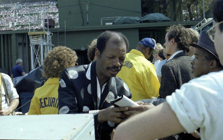 Blues cats ---- Ornette Coleman and in the leather top hat, that's trumpeter Lammar Wright, Jr ---- June 19, 1982 -- Note the Hollywood Bowl Playboy Jazz Festival audience over Ornette's shoulder -- photo by Mark Weber