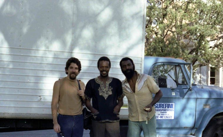 Mark Weber, Horace Tapscott, Henry Franklin -- May 16, 1981, UCLA -- I believe this was  snapped by Linda Hill, she was always grabbing my camera and taking pictures (which I  approved whole-heartedly) -- Horace and the Pan Afrikan Peoples Arkestra was getting  ready to play outdoors -- Henry has a new release TWO VIEWS (SP Records) that we've been  spinning and will spin again this day