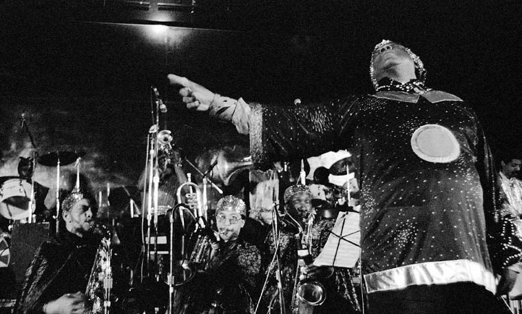 Sun Ra Omniverse Arkestra -- April 2, 1981---- Myron's Grand Ballroom, downtown  Los Angeles -- photo by Mark Weber