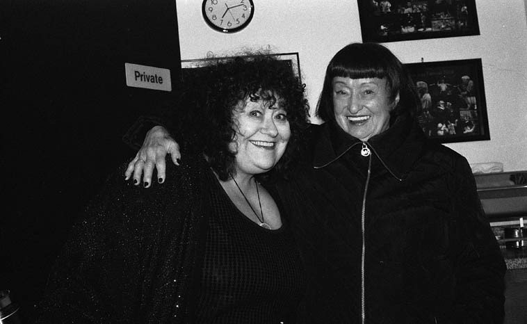 Patti Littlefield & Sheila Jordan backstage at The Outpost Performance Space --  they shared the bill that night, both of them with duets ---- (Sheila's way with song  has always been the model for Patti)  and Patti is my co-host this day as we remind  the listeners about how non-commercial public radio works -- photo by Mark Weber --  March 5, 2o15
