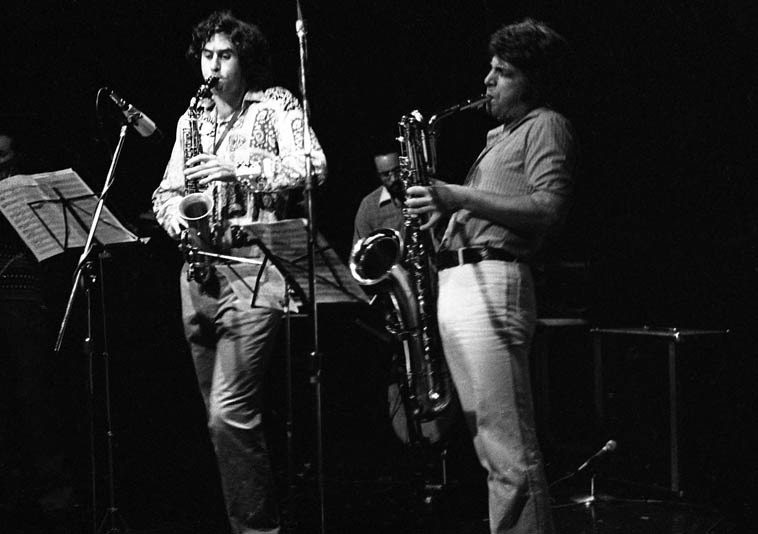 Tim Berne & Vinny Golia with Roberto Miranda on bass -- Century City Playhouse, Los Angeles -- October 28, 1979 -- photo by Mark Weber