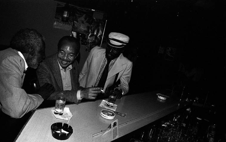 "Freddie Hill, Harold Land, Martin Banks ---- May 10, 1981 -- Los Angeles  -- photo by Mark Weber --  Freddie and Martin were trumpet players,  Freddie had a smokin'  bop sextet with trombonist Lou Blackburn that included Horace Tapscott that made a couple  albums in 1963 (we'll spin some of it on the airwaves) ---- Martin made records with everyone from  Dexter to Sun Ra -- this photo always reminds me of how my colleague Kirk Silsbee personified Harold as  ""the Dapper Buddhist"""