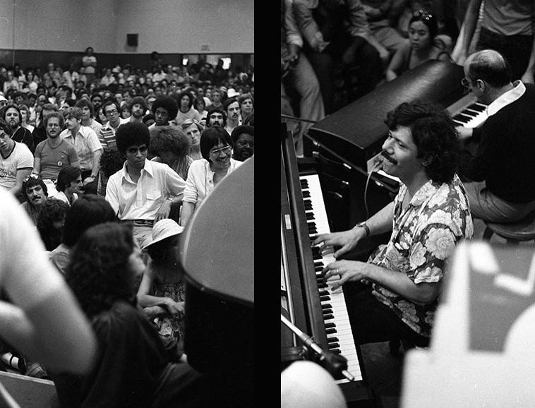 Chick Corea and Victor Feldman playing for Blue Mitchell's Memorial @ Local 47 Los Angeles --  June 10, 1979 -- photos by Mark Weber