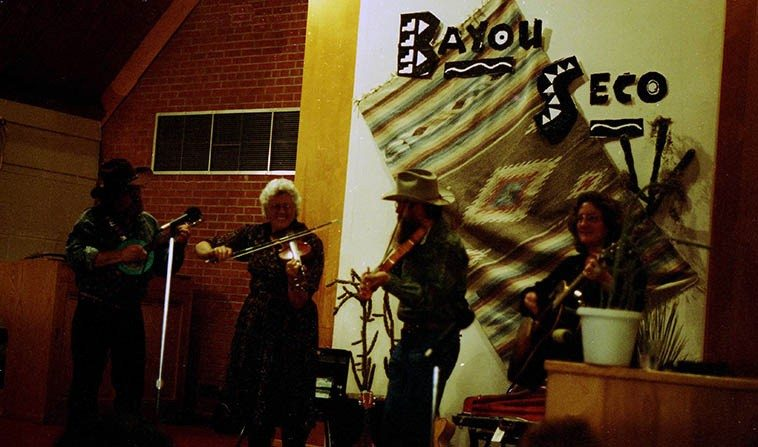 Bayou Seco ---- I don't remember where this was, a dance hall somewhere -- date: February 15, 1998 w/ Scott Mathis, mandolin, and Linda Askew, guitar ---- photo by Mark Weber ------ One day Ken saw my  old Nonesuch Explorer Lp THE IRISH PIPES OF FINBAR FUREY (1972) which is an album that sounds  like it stepped out of the Mabinogion or Beowulf and turns out Ken is friends with Finbar, my mouth fell open, this record is so mythical to me I didn't know you could actually meet someone like Finbar Furey (my late friend Ken Barreras turned me onto Finbar)