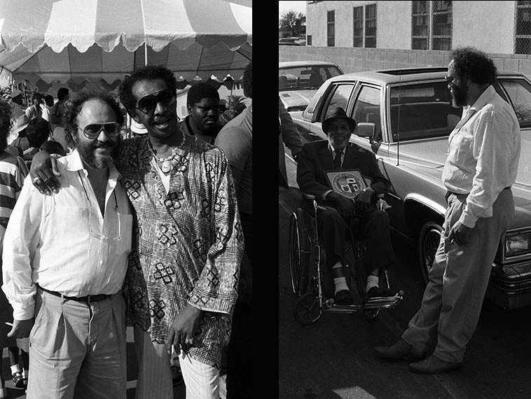 """Joe Farrell with Philly Joe and Papa Jo Jones -- Watts Towers Festival of the Drum --  September 23, 1984 -- photos by Mark Weber -------- Cal's new band plays a scorching  version of Joe Farrell's tune """"Moon Germs"""" which we'll listen to today on the show"""