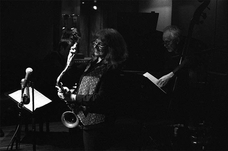 Lena Bloch Quartet w/ Russ Lossing, piano; Cameron Brown, bass; Billy Mintz, drums --  May 7, 2o15 at Kitano Hotel, Park Avenue & 38th, Manhattan -- photo by Mark Weber