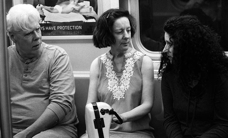 Riding the subway to rehearsal -- Today we'll be listening to their newly released  first CD simply called Bill Payne, Eva Lindal, Carol Liebowitz ---- May 7, 2o15 -- somewhere  under the East River heading to Brooklyn -- photo by Mark Weber