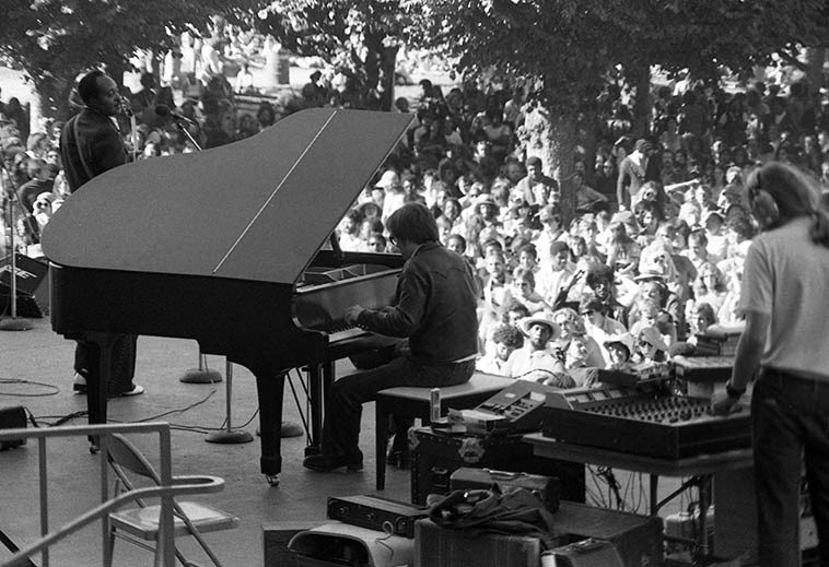 Mark Naftalin (piano) with Phillip Walker (guitar) 's band at San Francisco Blues Festival -- August 13, 1978 -- photo by Mark Weber ----- I have a great love of Michael Bloomfield's music, of which Mark Naftalin played a great part over many years, but I never got to see Bloomfield play live, although I did stand outside Minnie's Can-Do Club on Haight Street one evening in the summer of 1975 and listen (I was too broke to go inside) to Bloomfield tear the place up with that guitar