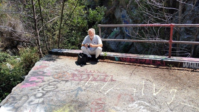 MW on the old washed-out road to Mt Baldy in San Antonio Canyon above my hometown Upland, California (big flood in 1968)---- 11 a.m. June 21, 2o15 ----photo by brother Craig Weber