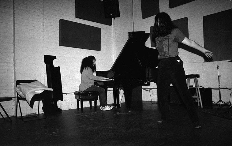 Carol Liebowitz, piano, and Melissa Papalcure, yoga dance -- May 9, 2o15 at I-Beam -- photo by Mark Weber