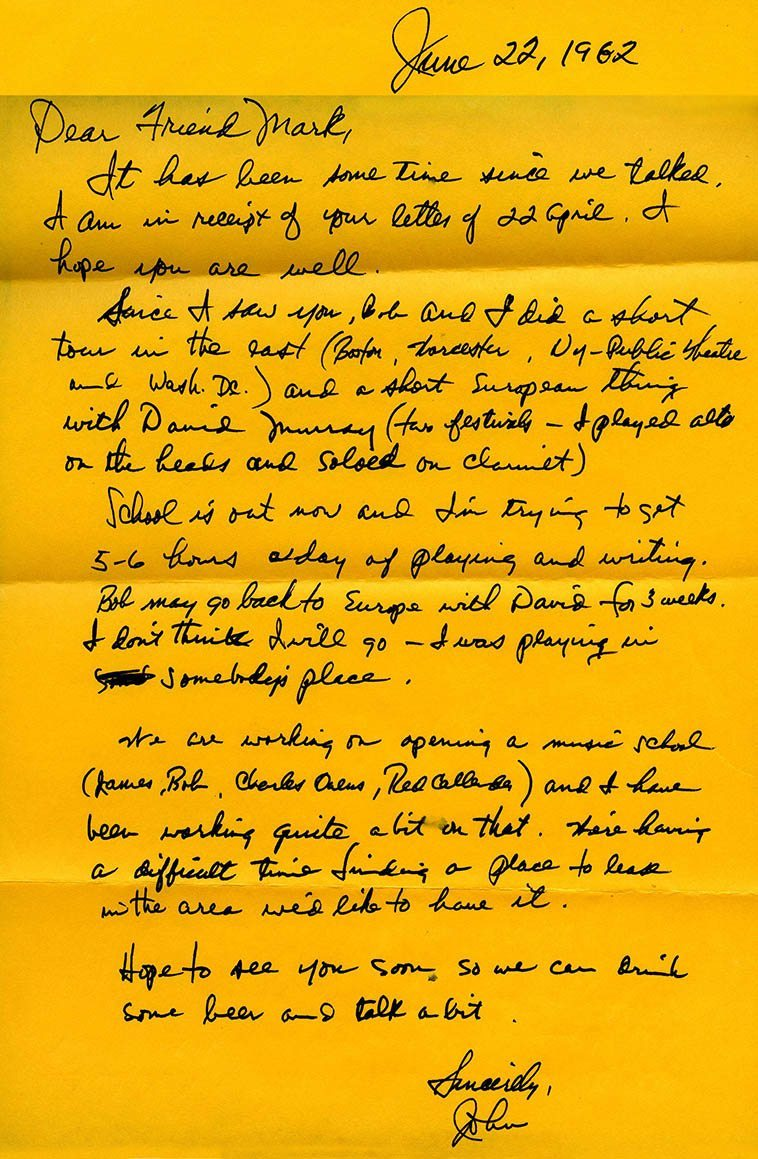 I was out of circulation for awhile and John decided to write me a letter and catch me up on all that was going on ---- June 22, 1982