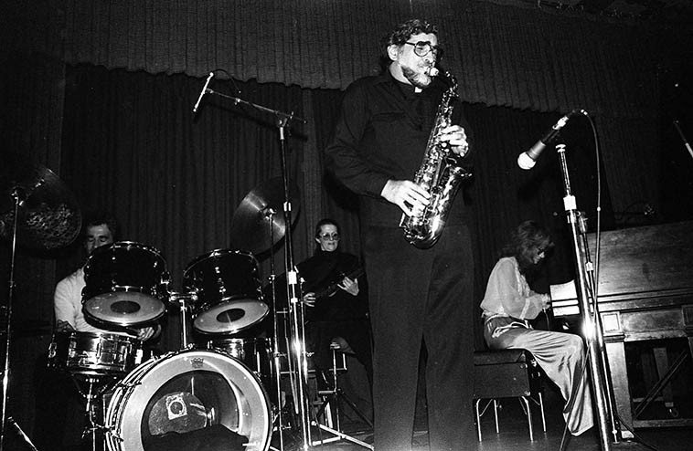 Father James Perrone sitting in with the Joanne Grauer Trio at the L.A. Press Club -- May 15, 1982 -- photo by Mark Weber ---- Father Jim played saxophones for the Tony Pastor Orchestra (on records 1948-1952) under the name Buddy James ---- I first met up with him on his gigs with Fred Katz in the early 80s